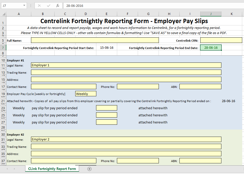 """screen grab of an Excel spreadsheet titled """"Centrelink Fortnightly Reporting Form — Employer Payslips"""""""