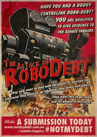 """""""the Attack of the ROBODEBT"""" vintage B-movie poster style"""